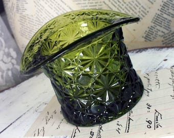 Vintage Fenton Glass Top Hat Olive Green Daisy and Button Pattern