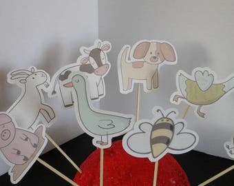 FARM ANIMALS cupcake toppers-- Kids Birthday cupcake Toppers-- --Set of 12... Choice of one side or two sided pick