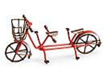 Red,Double Bike w/ Basket - Bicycle for Two  Miniature Fairy Gnome Garden, Terrarium, Dish garden, Dollhouse, or Diorama accessory