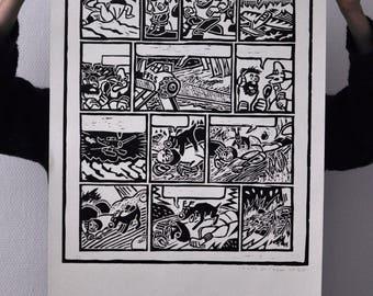 Tintin poster _ linocut