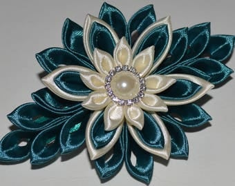 Handmade Girl's/Ladies French Barrette Hair Clip in Teal/Ivory, Kanzashi Style, Wedding Hair Accessory, FREE UK Delivery