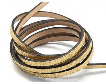 1.2 m cord faux leather flat gold Paillete 5 mm