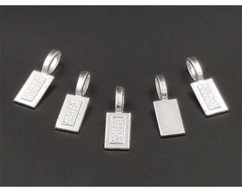 20 bails to stick 21mm clear silver rectangles