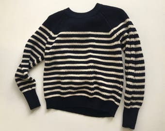 Dark Navy & White Stripe Cotton Pullover Sweater S/M