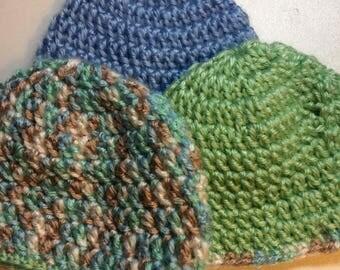 Crocheted newborn baby beanies