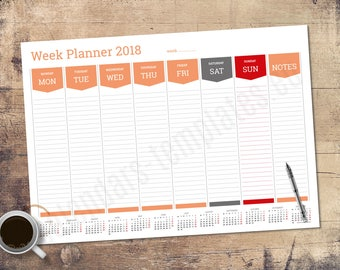 2018 Week Wall or Desk Planner Agenda with Year Calendar Template (PT-W1)
