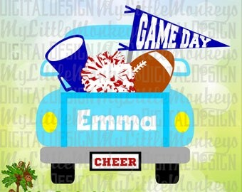 Cheer svg, Cheer Truck svg, Football SVG, Football Truck SVG, Cheerleader svg, Game Day, Commercial Use SVG, Cut File, Clipart dxf, eps, png