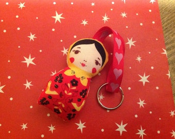 . 2.mini cuddly doll, Keychain, lucky, deco.
