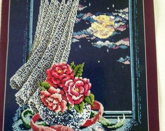 DMC Moonlight & Roses Counted Cross Stitch Chart – Floral Rose Vase – Heart Pendant – Romantic Cross Stitch Pattern - Moonlit Window Sill