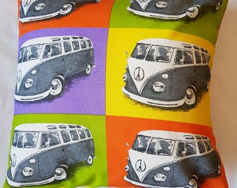 Multicoloured VW Campervan Cushion Cover