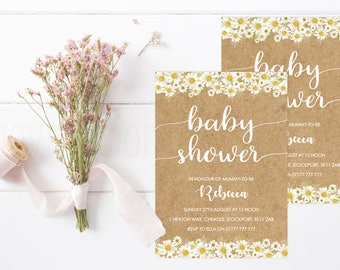 Daisy Themed Baby Shower Invitations with Envelopes