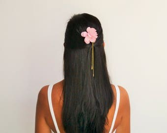 Bronze chains - powder pink hair flower wedding hair comb Bohemian and romantic - bridal hair accessory