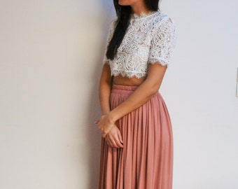 Jupe longue bohème rose poudré foncé taille haute plissée fluide, jupe longue demoiselle d'honneur, jupe longue mariage
