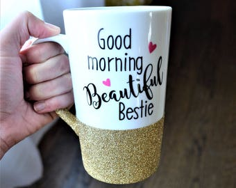 Best Friend Mug // Best Friend Gift // Gift for Best Friend // Best Friend Coffee Cup //  Bestie Mug // 16oz Glitter Mug // Best Friends