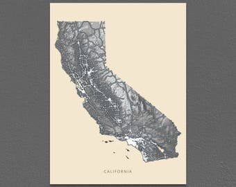 California Map Print, Black and White, Vintage Inspired, USA State Art