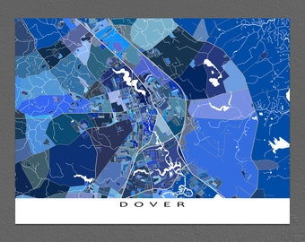 Dover Map Print, Dover Delaware USA, City Street Map Art Poster