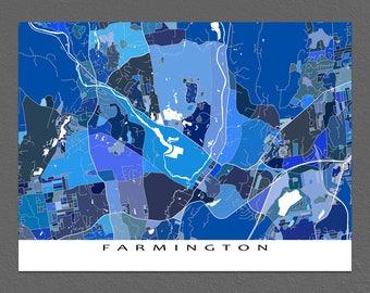 Farmington Map Print, Farmington Connecticut, City Art Maps, Blue