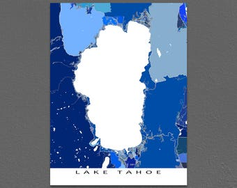 Lake Tahoe Map Print, Nevada California Wall Art, South Lake Tahoe, Tahoe City, Blue