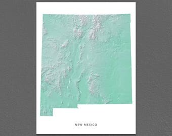 New Mexico Map Print, New Mexico State, Aqua, NM Landscape Art