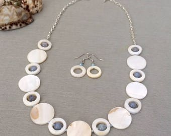Shell Bead Necklace Set White Shell Necklace Statement Necklace White Beaded Necklace Shell Jewelry Summer Resort Jewelry Gift For Her Mom