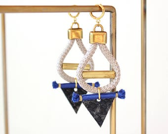 Triangle earrings /Blue and gold earrings / Statement earrings/Blue earrings/Tribal earrings/Leather earrings/Gift fot her/Valentines gift