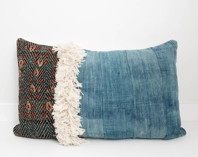 Mixed African Indigo and Asian Pillow Cover, Ethnic, Handwoven, Natural