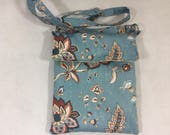 Floral blue handbag fabric handbag fabric pursewomens handbag handmade purse floral pursehandbags and purses shoulder bag