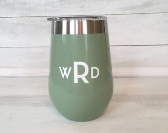 Green Stainless Steel Wine Glass With Lid With Monogram