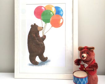 Brown Bear with Balloons Nursery Decor Print and Card to Download