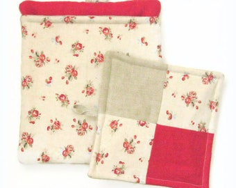 """Oven gloves """" small red  roses """""""