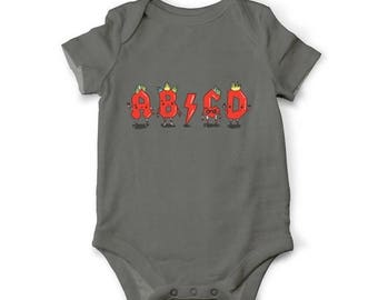 10% OFF SALE Funny baby bodysuit - ABCD, Musical baby clothes, Unique baby shower gift, Punk baby shirt, Funny baby gift