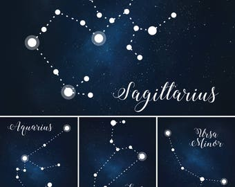 Star-Themed Wedding Table Numbers, Constellation Table Names, Under the Stars Wedding Table Number Digital Files, Star Table Name Printables