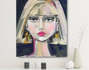 """Girl Portrait Print,""""Socha"""" face portrait woman, paper or canvas, faces, marendevineart"""