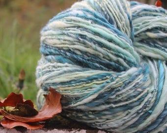 Handspun hand dyed singles merino/romney/silk/bamboo/angelina, jade,turquoise,sherbert yellow,white,pale green