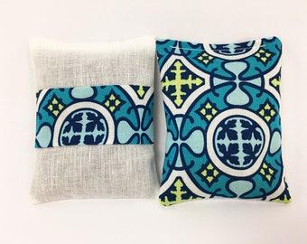 Lavender Sachet Bags, Green and Blue, Lavender Pillow, Mosaic