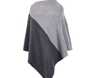 Two colour lambswool and angora poncho