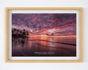 Perfect Island Sunset, Fiji. Photography Art Print