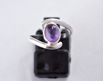 African Amethyst Sterling Silver Ring, Stacking Ring, Cabochon Ring, 925 Silver Ring, Natural Gemstone Handmade Rings - SKU 517