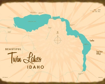Twin Lakes, ID Map - Canvas Print