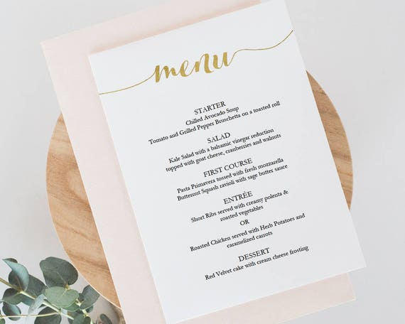 Printable Gold Menu Template Instant Download Menu 5X7