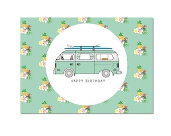 VW Surf Camper Van Happy Birthday Card by Katie Cheetham