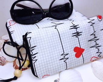 Nurses Glasse Case, EMT Zipper Top Eyeglasses Pouch, Health Care Worker Sunglasses Case, Fabric Glasses Case, Soft Eyeglass Case