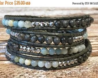 SUMMER SALE Chan Luu Style Wrap Bracelet / Chan Luu Jewelry / Healing Crystal Bracelet / Chan Luu Bracelet / Chakra Bracelet