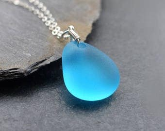 Sea glass pendant etsy sea glass necklace sterling silver 14k gold filled blue sea glass pendant aloadofball Images