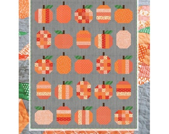 "Pumpkins Quilt Pattern by Cluck Cluck Sew for Moda- Finished Size 58"" x 72"""
