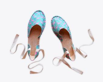 New! Flamingo Strappy Espadrilles in Turquoise – Suzie London handmade 70s retro espadrille summer festival sandals