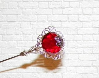 Red Hat Pin Victorian Vintage Style Silver Antique Inspired 7 Inch Steampunk Stick Lapel Pin