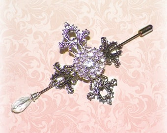 Shawl Pin Silver Celtic Cross Brooch Victorian Vintage  Style Scarf Pin Hair Slide Edwardian Filigree Antique Inspired Stick Pin Outlander