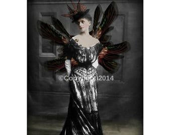 On Sale- Fairy Gothic Printable Victorian Lady Stemapunk Woman Digital Collage Ephemera Art Instant Download Vintage  Image Scrapbooking Car
