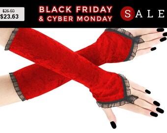 Fingerless gloves red black long velvet arm warmers gothic burlesque vintage bohemian, womens evening gloves, goth bridal wedding lolita 2R
